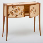 Maple Leaf Marquetry Cabinet Detail 1