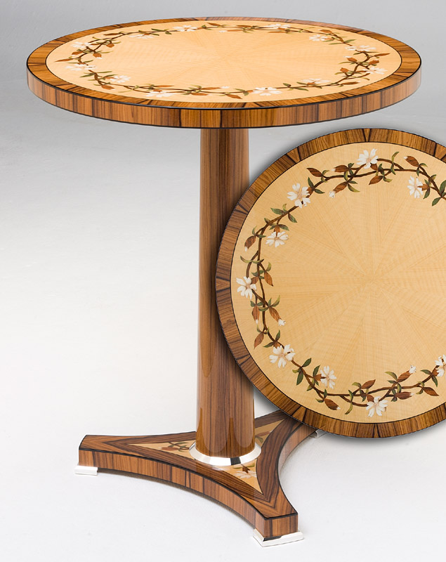 Campion Flower Marquetry Display Table