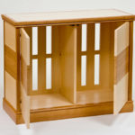 Small Parquetry Entertainment Cabinet Open