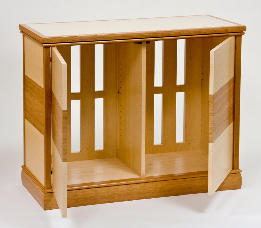 Small parquetry entertainment cabinet open ct fine - Small cabinet with shelves ...