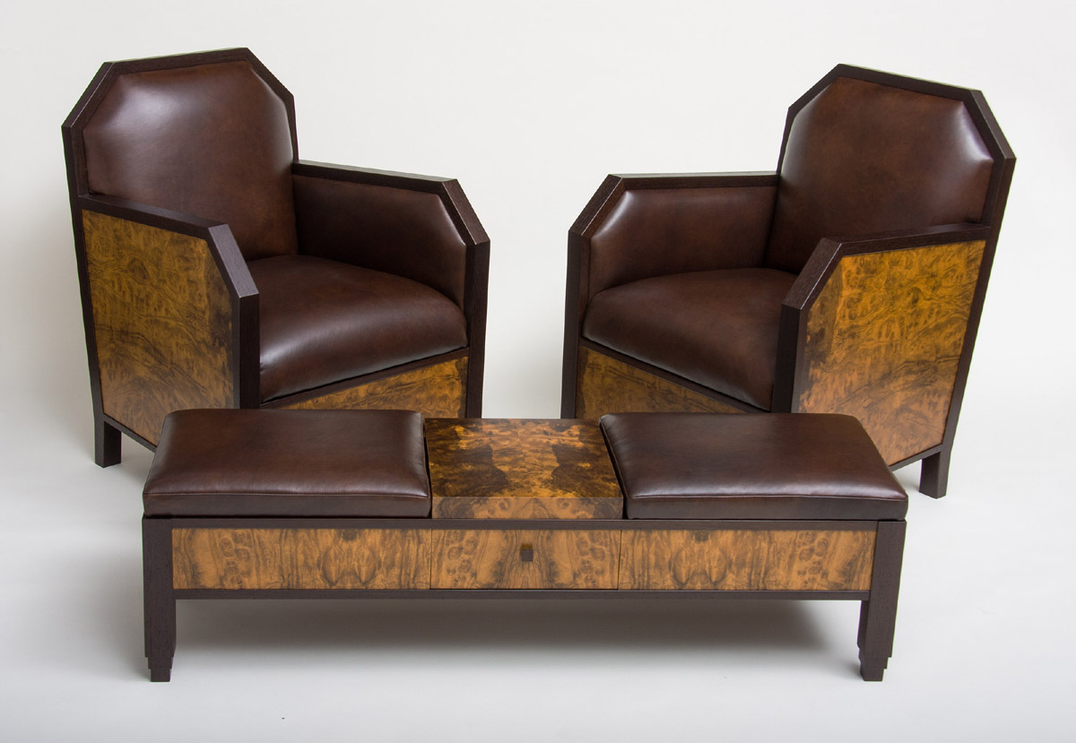 Chairs-and-Ottoman - Art Deco Club Chairs And Ottoman CT Fine Furniture