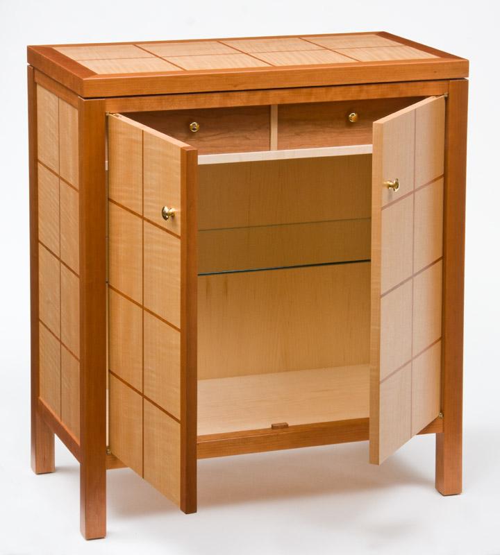 Cherry and Anigre Liquor Cabinet | CT Fine Furniture