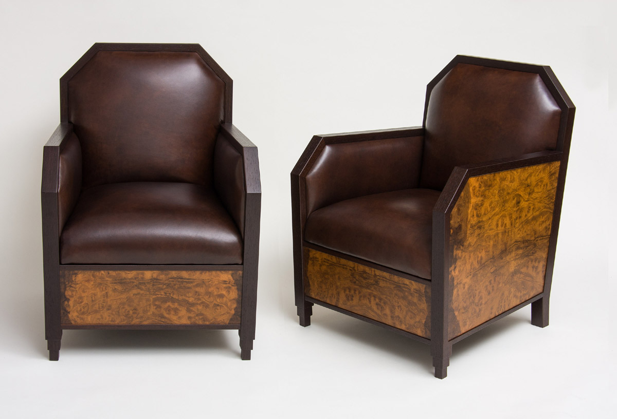Art Deco Club Chairs And Ottoman Ct